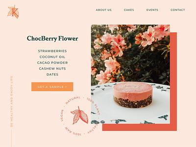 ChocBerry Raw Cake sweet website button branding cacao chocolate desktop ecommerce cake webdesign ui