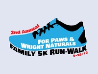 For Paws & Wright Naturals 5k Tee Shirt