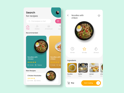 Food Recipe - Mobile App 40 sketch ui kit iso food recipe recipe app design modern food recipe cooking app best apps to save recipes create recipe app best recipes app home cooking apps recipe food app food recipe app food delivery landing page home page design ui ux design ui landing page