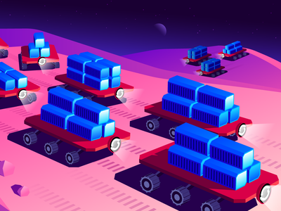 Red Hat OpenShift Editorial Illustration (Part 1 of 3) redhat night sky hero image robots metrics monitoring cloud saas tech containers rover planet space editorial illustration datadog openshift geometric design illustration