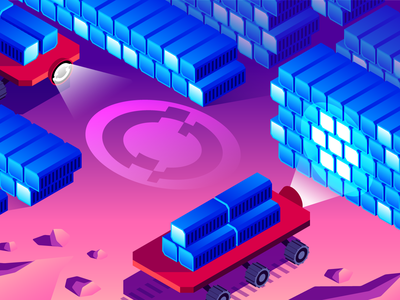 Red Hat OpenShift Editorial Illustration (Part 3 of 3) flat vector sci-fi dashboard monitoring cloud saas tech hero image data visualization mars rovers hosts editorial illustration space containers openshift red hat datadog design illustration