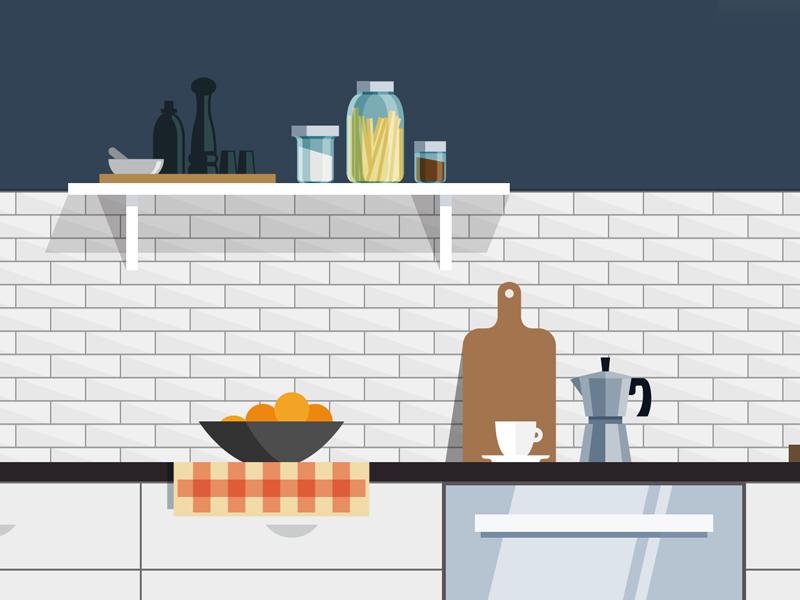 Kitchen Illustration illustration design flat kitchen modern coffee home interior decor tile mason jars