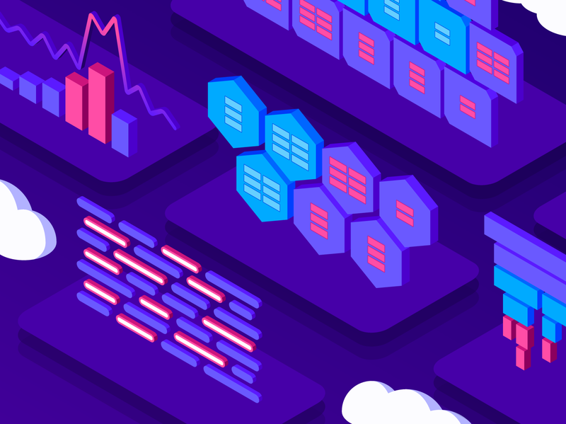 Datadog Marketplace Hero Illustration marketplace colorful dataviz data metrics neon 3d tech clouds saas datadog isometric illustration isometric branding vector icons geometric flat design illustration