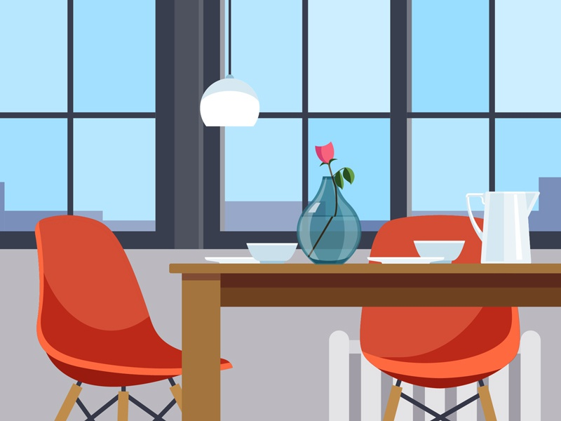 Dining Room Setting illustration design flat chair modern eames home interior decor vase objects dining room