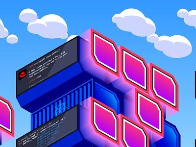 Red Hat OpenShift Landing Page Illustration isometric skyline coding metrics dashboard containers kubernetes ibm cloud computing saas cloud tech data datadog openshift redhat isometric illustration design illustration