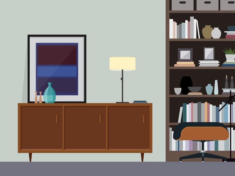 Study Dribbble illustration design flat modern eames home interior decor objects study rothko midcentury modern