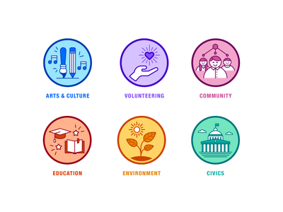 Spot Illustrations volunteering environment civics community art culture education design line style flat illustration