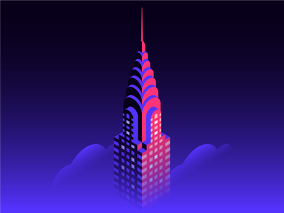 Isometric Chrysler Building spot illustration tech illustration cloud isometric art nyc new york city icon architecture chrysler building skyline city building isometric illustration isometric icons isometric branding geometric flat design illustration