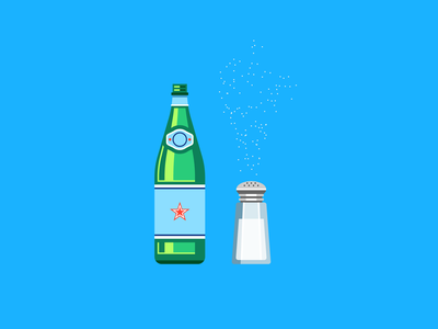 Curb Your Enthusiasm — Club Soda and Salt water drinking reflections glass bottle salt shaker salt club soda larry david curb your enthusiasm creative direction seinfeld vector minimal art icons geometric flat design illustration