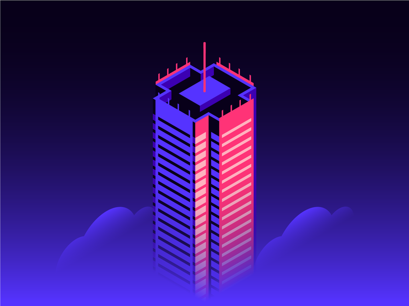 NY Times Building isometric illustration isometric art direction creative direction spot illustration icon new york office tech clouds cityscape renzo piano architecture nytimes nyc skyline building flat design illustration