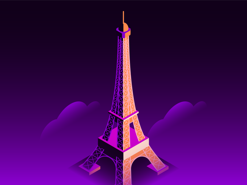 Eiffel Tower tech ui location editorial illustration spot illustrations iconography icons cityscape skyline art direction creative direction landmarks paris french eiffel tower architecture isometric building isometric design illustration