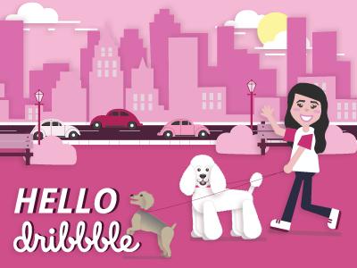 Hello Dribbblers! wave walk yorkie vw bug dog walker poodle city pink