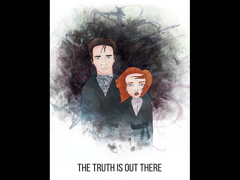 Mulder & Scully digital illustration illustration