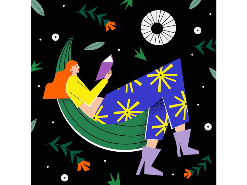 Reading can take you anywhere! conceptual reading books space nature flowers editorial ipadpro illustration illustrator magdaazab character woman