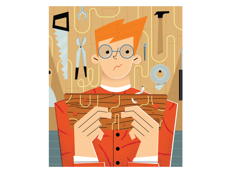 editorial - Should I worry about woodworm in my garage? editorial conceptual newspaper tools character editorial design garage wood woodworm editorial illustration
