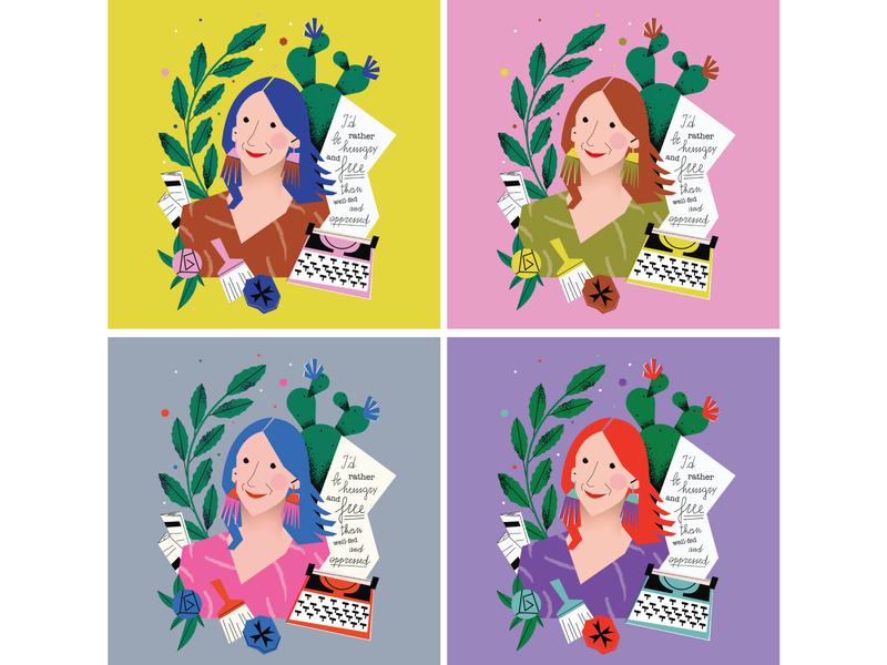 Daphne Caruana Galizia series of limited prints prints newspaper flowers quote typewriter woman journalist women malta illustrator magdaazab illustration character