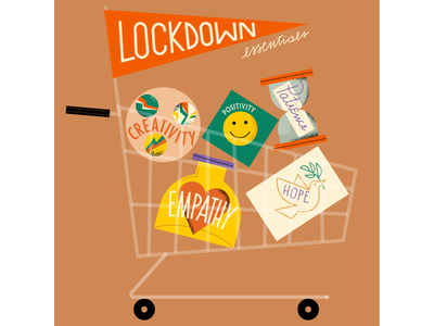 my lockdown essentials! magdaazab illustration digital illustrations illustration art hope patience creativity empathy social editorial flat positivity cart covid illustration