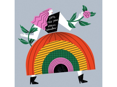 note to self!  rose rainbow editorial graphic woman flowers illustrator magdaazab character illustration