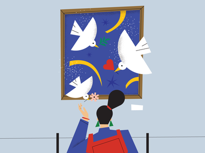 For the love of art part 2 trip love birds fly freedom conceptual art museum graphic logo illustrator editorial character magdaazab illustration