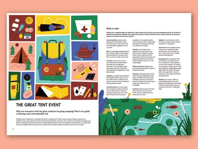 The great tent event part 1 plants fish pond animals frog flowers flat magdaazab editorial illustrator nature camping character illustration