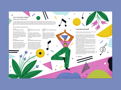 Breathe magazine – Beat it abstract colors geometry notes editorial illustration magazine music nature women flowers illustrator magdaazab character illustration