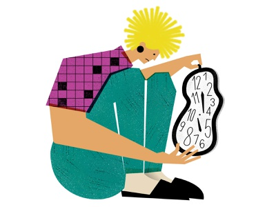 The pandemic has wrecked our sense of time character pattern editorial magdaazab croosword woman conceptual magazine editorial illustration clock time newsletter illustration