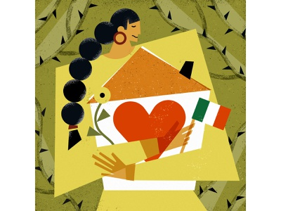 protecting home magazine graphic geometrical conceptual girls nature flowers editorial illustration vectors magdaazab character illustration family love homesick home