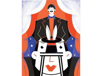 Breathe magazine – the illusions of the mind design theatre magician conceptual illustration graphic magazine editorial illustration editorial magdaazab character illustration illustrator magic rabbit optical illusion