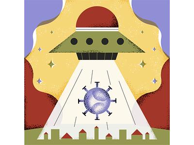 make a wish geometric town covid conceptual illustration graphic editorial illustrator magdaazab illustration conceptual ufo virus corona wish