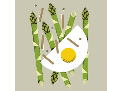 asparagus & eggs BFF illustrator design food and drink spring cook kitchen vgetables geometrical nature illustration food illustration food eggs asparagus