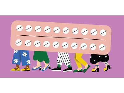 donna moderna magazine - Birth Control Pill illustrator illustration editorial magazine birth control pill shoes healt clothing fashion womens