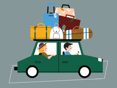 holiday vibes editorial illustration charachter design airport illustrator flat illustration travel luggage character vacation trip car holiday