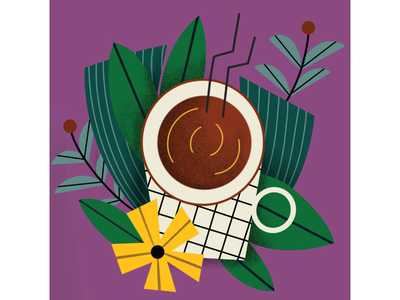 Coffee breakfast food procreate ipadpro flowers coffee illustration