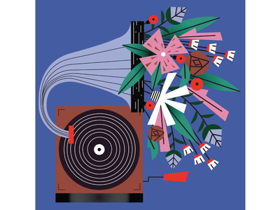 It's Friday!! time to turn the music on and the computer off! happiness turntable vintage vinyl music flowers magdaazab illustration