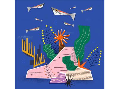 My Summer television! malta animals illustration plants nature fish sea undersea summer