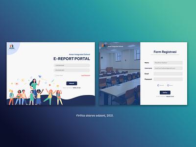 Login Page Online School Report web design vector ui