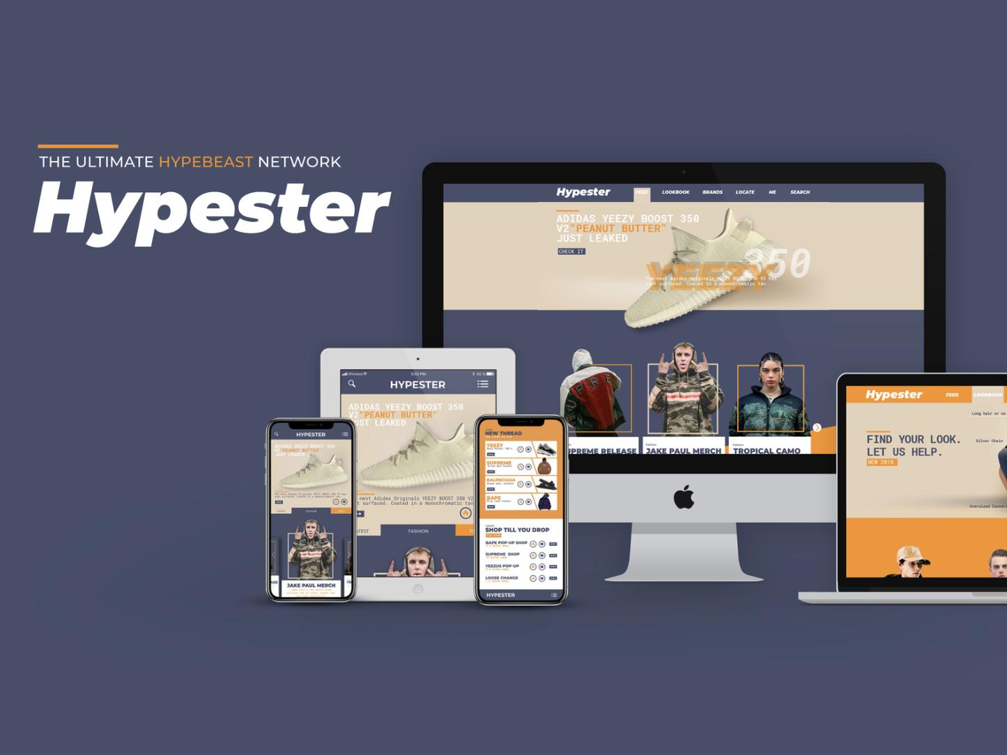 Hypester- Hypebeast Social Network app icon web branding ux logo design ui illustration graphic design hypebeast kanye yeezy yeezys