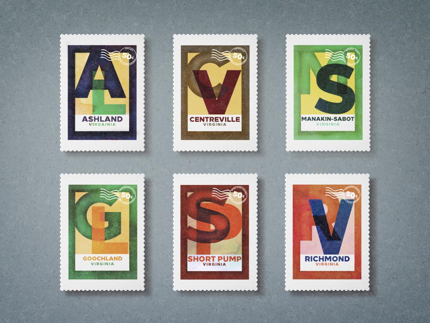 Virginia Towns Set of Stamps typography stamp graphic design stamps designs rva short pump goochland manakin-sabot centreville ashland virginia richmond