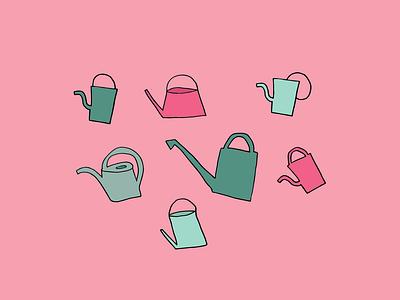 watering can doodle color palette design illustration art hand drawn cute illustration colorful bold color illustration