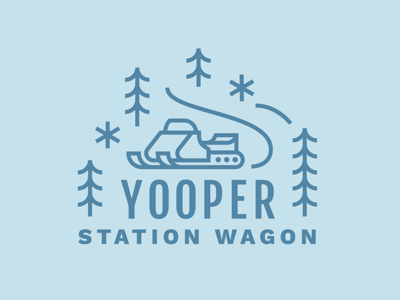 Yooper Station Wagon yooper snowflake snowmobile snow upper peninsula michigan trees pines icon illustration