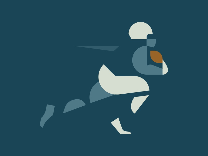Hut Hut Hike run athlete sports nfl american football football illustration vector mark icon logo