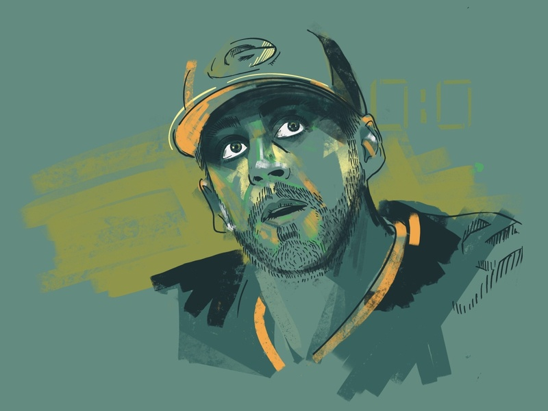 Rodgers greenbay packers athletics nfl sports football vector procreate portrait illustration drawing portrait branding design illustration
