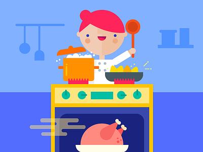 Happy Thanksgiving coral girl illustration turkey dinner thanksgiving cooking kitchen