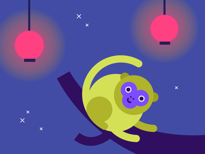 Year of the monkey kawaii illustration night forest celebration lantern chinese new year monkey