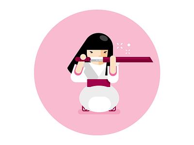 Sensei guru illustration fight samurai pink girl sandals japan katana kimono sensei
