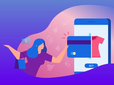 Better conditions for consumer header purple human shopping consumer online mobile buy illustration