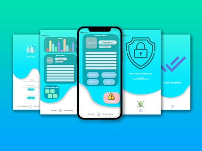 App Surveillance Application Simple Design eccomerce application vector fluid dynamic design ui logo app design security app