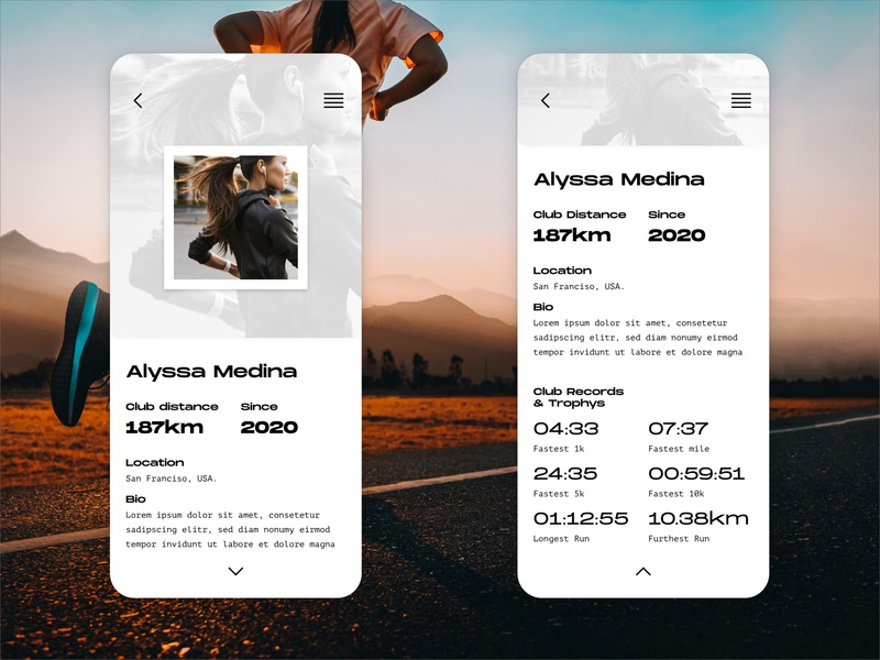 DailyUI006 running ui design dailyui
