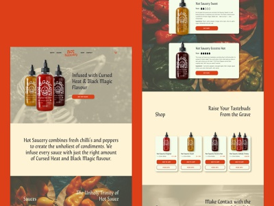 Hot Saucery hot sauce landing page design chris bliss identity design adobe xd branding identity ux ui