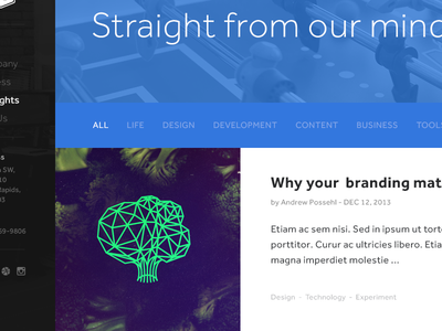 Thoughts - blog branding clean grid blog thoughts flat mighty agency